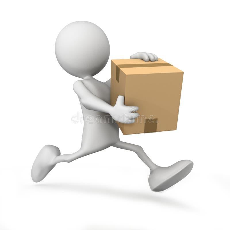 运行与配件箱的人图标 免版税库存图片