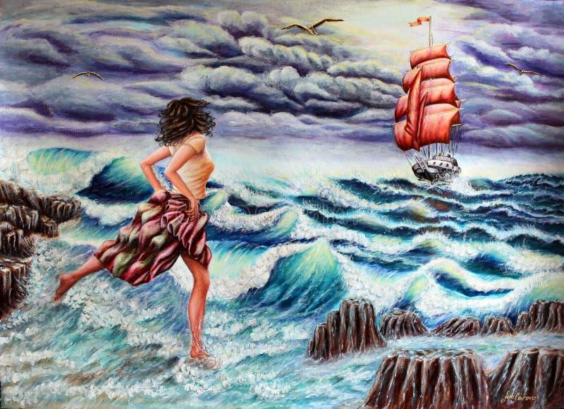运行在通知 女孩和希望 海,波浪,风船 航行猩红色 皇族释放例证