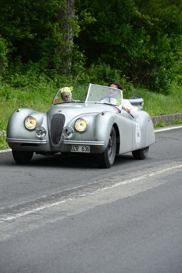运行在Mille Miglia种族的捷豹汽车汽车 图库摄影