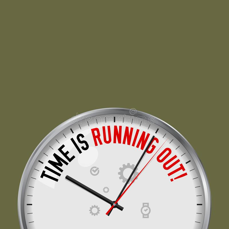 运行时间 有诱导口号的白色传染媒介时钟 有玻璃的模式金属手表 计时的背景 库存例证