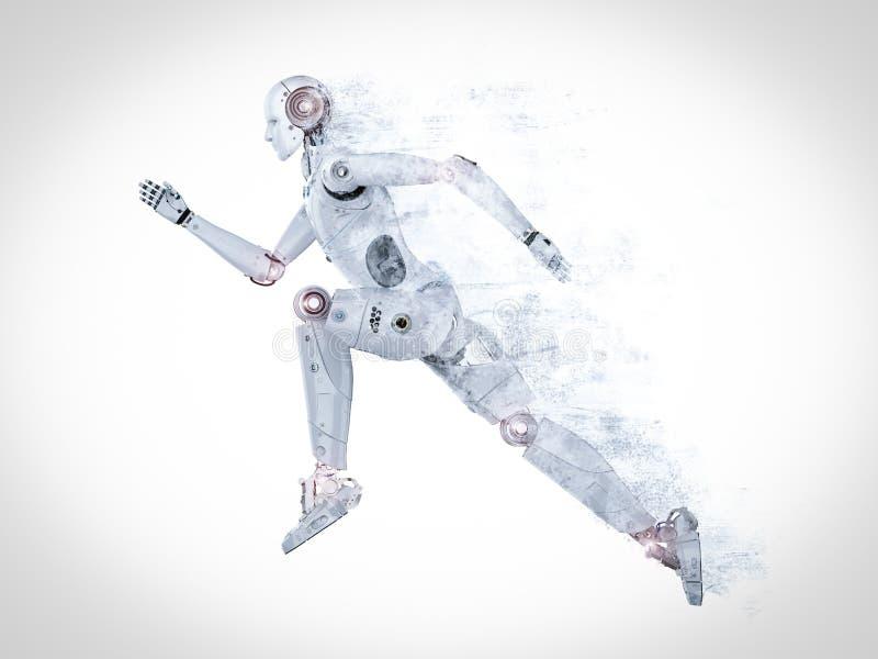 运行的机器人跳跃或 皇族释放例证