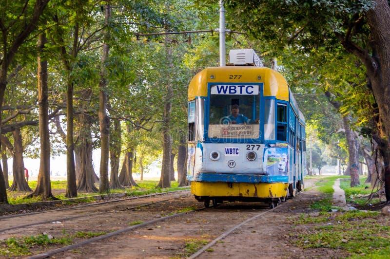 运行通过马坦公园的电车在一个晴朗的早晨在加尔各答,西孟加拉邦,印度 免版税库存照片