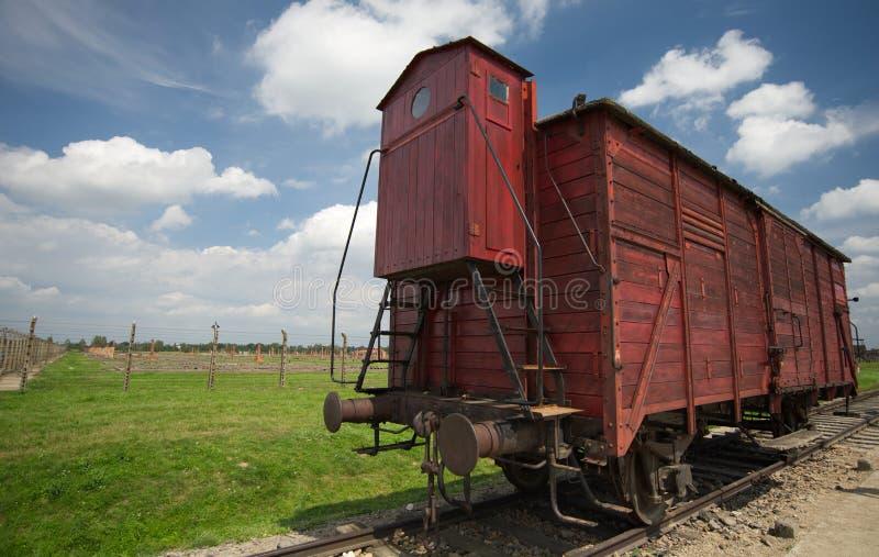 运货车在奥斯威辛II比克瑙,华沙,波兰 免版税库存图片