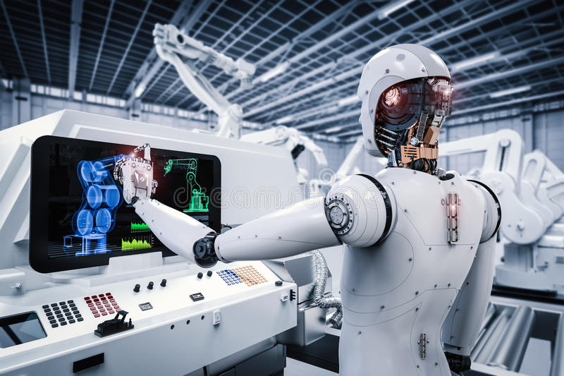 运转在工厂的机器人 库存例证