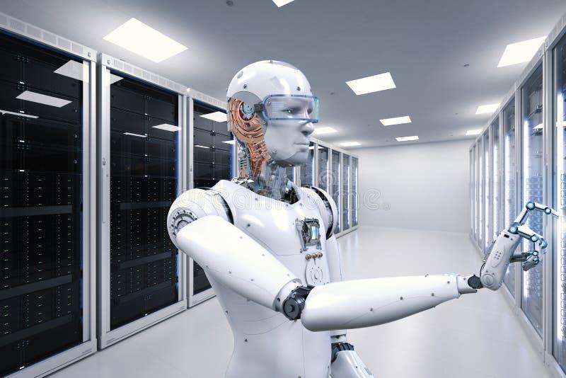 运转在服务器屋子里的机器人 免版税库存图片