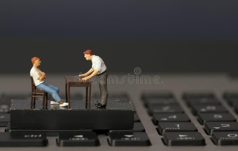 运转的网上概念微型商人上司 图库摄影