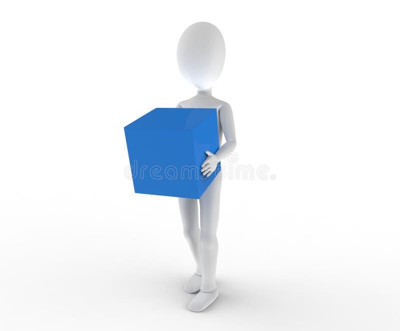运载一个无格式蓝色框的人员 免版税库存图片