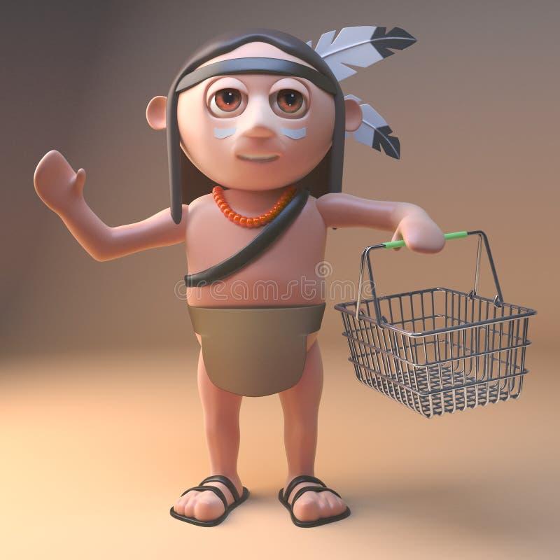 运载一个空的篮子,3d的购物的当地美洲印第安人例证 向量例证