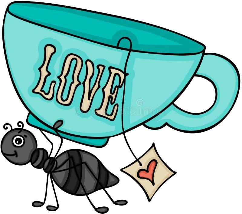 运载一杯爱茶的蚂蚁 皇族释放例证