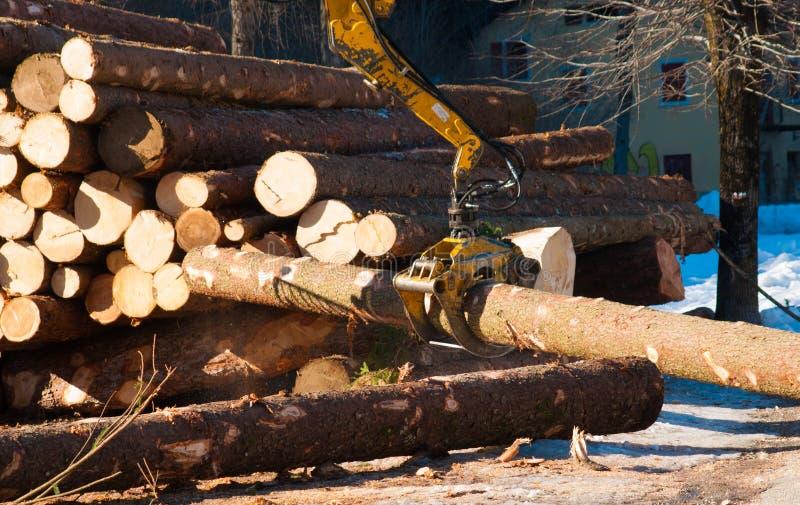 运载一根大树干的机械夹子 免版税库存图片