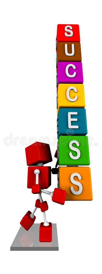 运载与成功词的3d红色立方体字符的例证五颜六色的立方体 皇族释放例证