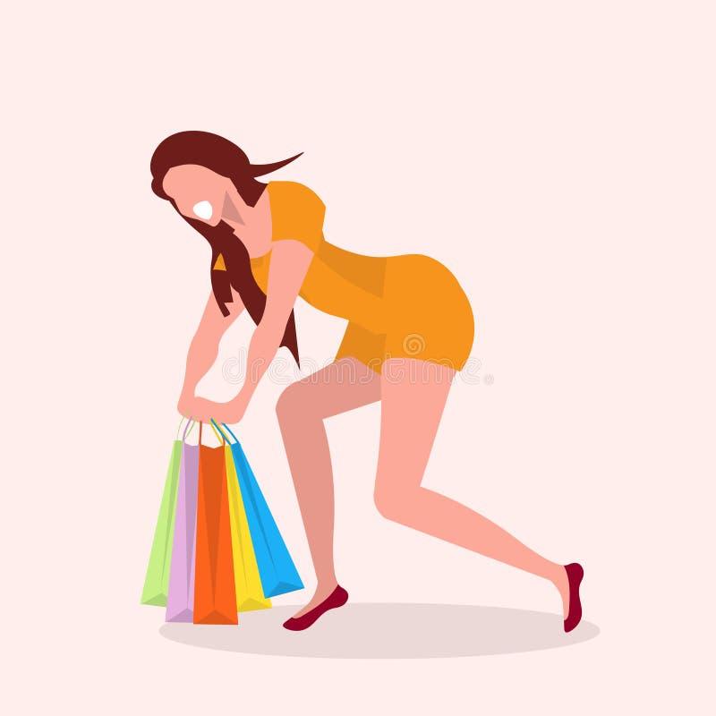 运载五颜六色的购物带来摆在和微笑的大销售概念母卡通人物全长舱内甲板的愉快的女孩 皇族释放例证