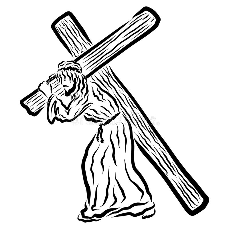 运载十字架的耶稣对受难象,遭受救主 库存图片