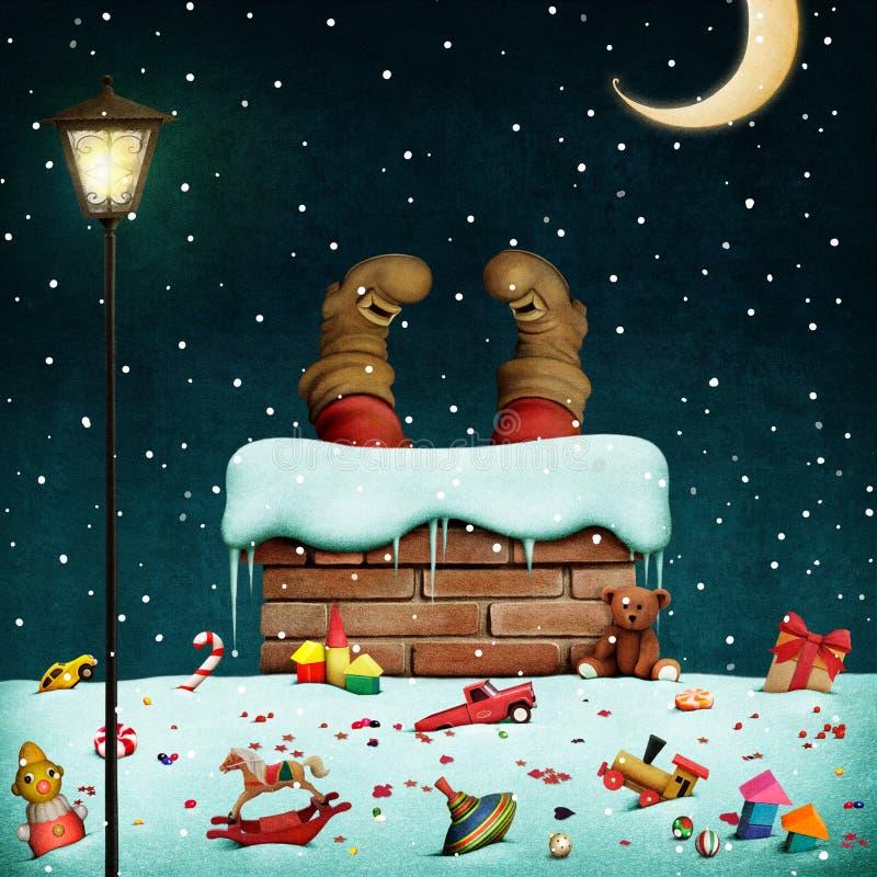 运载圣诞节克劳斯礼品例证晚上圣诞老人向量 向量例证