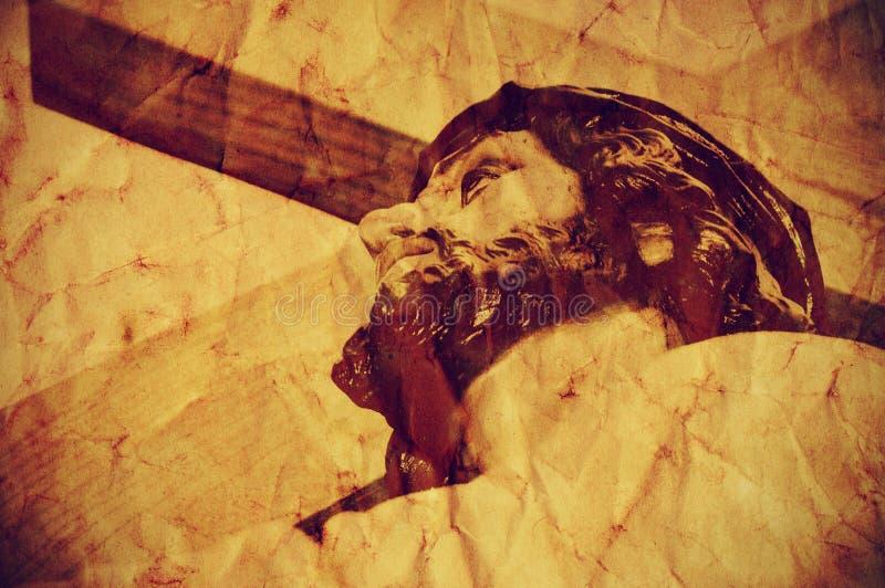 运载圣洁十字架,与一个减速火箭的作用的耶稣基督 免版税库存照片