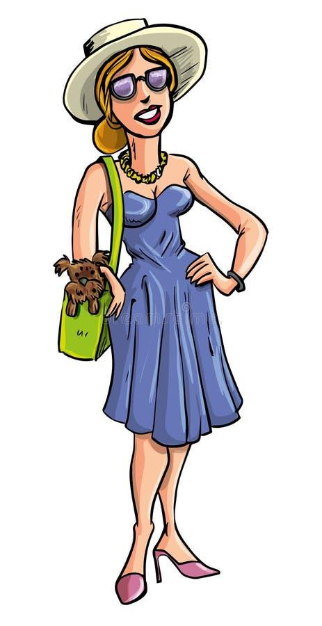 运载在她的袋子的迷人的夫人一条狗 皇族释放例证