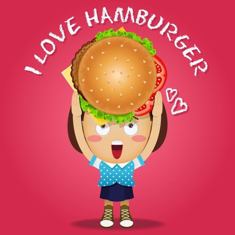 运载大汉堡的愉快的妇女 库存例证