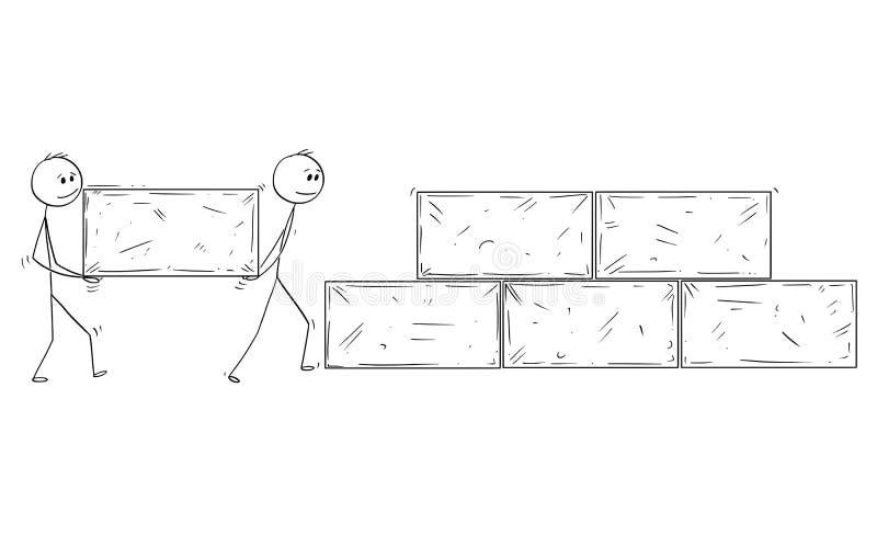 运载大石块和修造墙壁或金字塔的动画片双人或商人 皇族释放例证