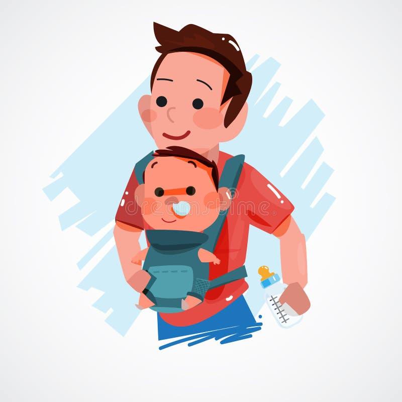 运载小婴孩的父亲 字符设计 超级爸爸概念 库存例证