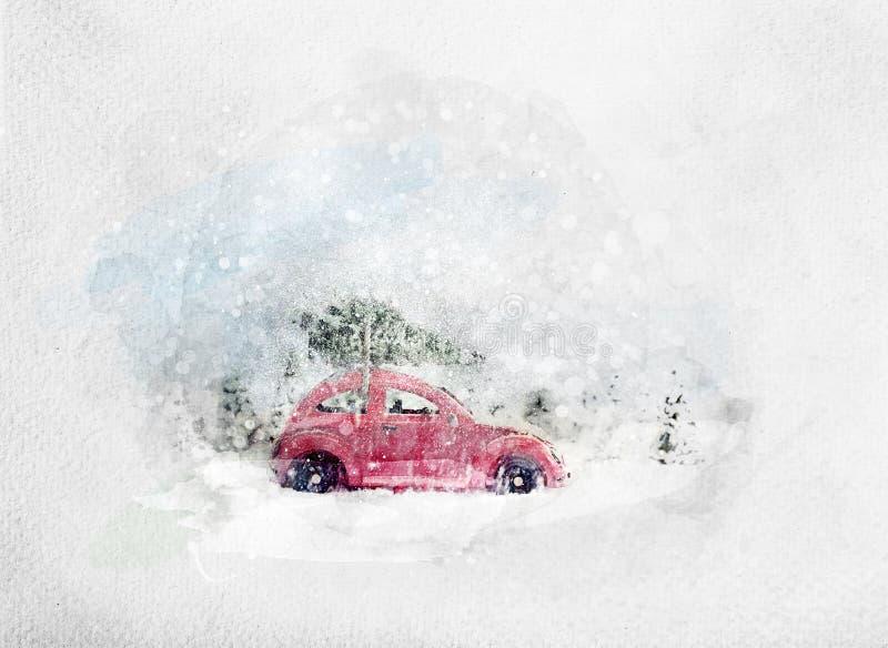 运载微小的圣诞树的减速火箭的玩具汽车 水彩 皇族释放例证
