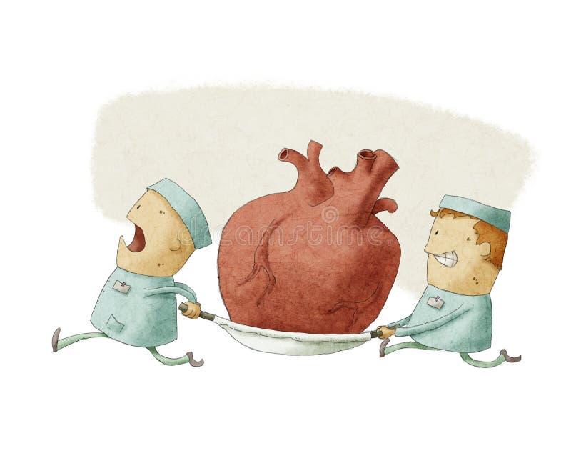 运载心脏的两个人 库存例证