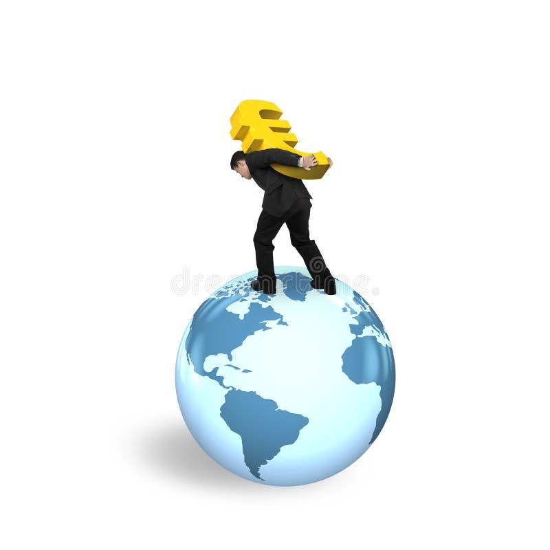 运载欧洲标志的商人站立在地球世界地图 库存例证