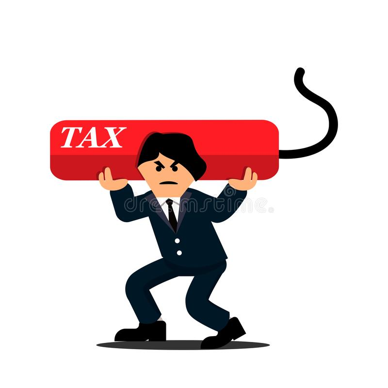 运载沉重的债务税的商人 平的设计 向量例证