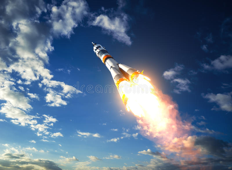 运载火箭离开对云彩 库存例证