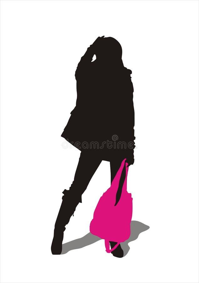 运载的女孩手袋 库存照片