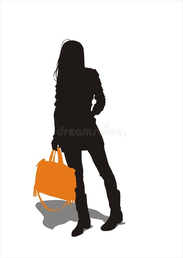 运载的女孩手袋 免版税库存图片