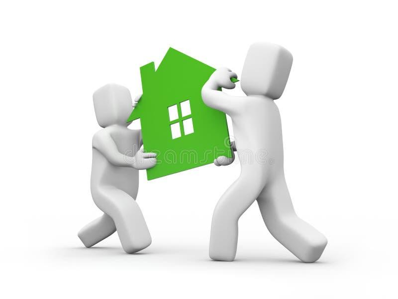 运载的房子图标人员配合 向量例证