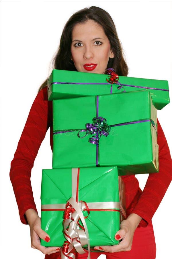 运载的礼品妇女 免版税图库摄影