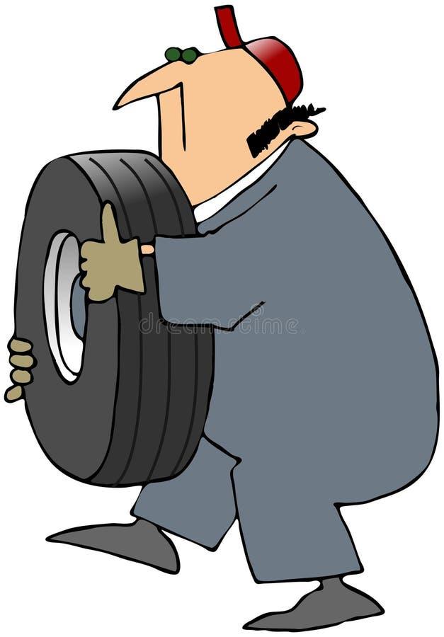 运载的轮胎工作者 向量例证
