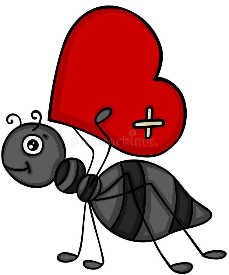 运载红色心脏的蚂蚁 皇族释放例证