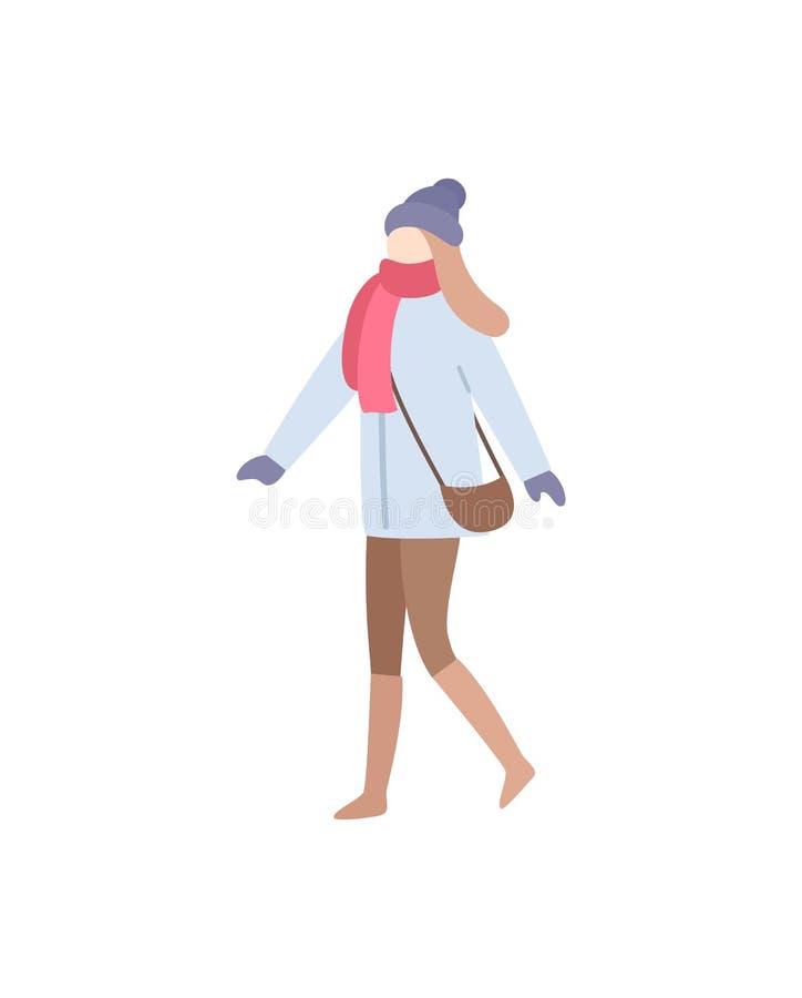 运载袋子的Walking Wearing夫人衣服暖和 库存例证