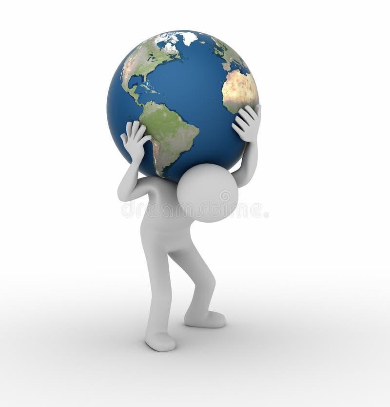 运载象世界的地图集 库存例证