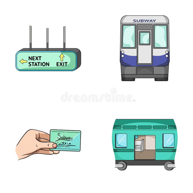 运输、公众、火车和其他网象在动画片样式 设备,属性,在集合汇集的机制象 向量例证