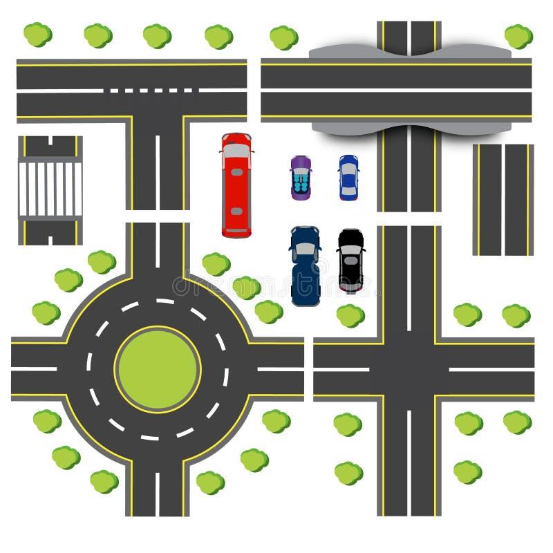 运输互换布景  另外高速公路的交叉点 环形交通枢纽循环 运输 桥梁 向量例证