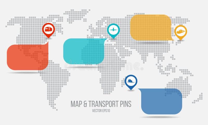 运输别针和正文框和地图传染媒介设计 向量例证