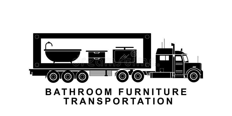 运输卡车例证的详细的卫生间家具 库存例证