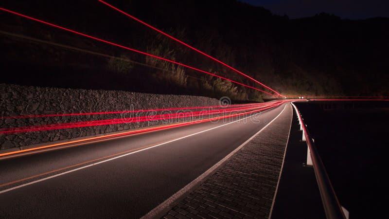 运输卡车或快速地驾车的运动光 库存图片