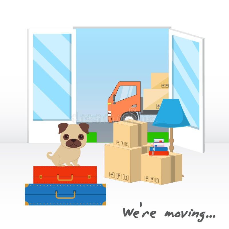 运输和家庭撤除 我们关于移动的` 一点哈巴狗坐有事的手提箱 有箱子的卡车是可看见的thr 皇族释放例证