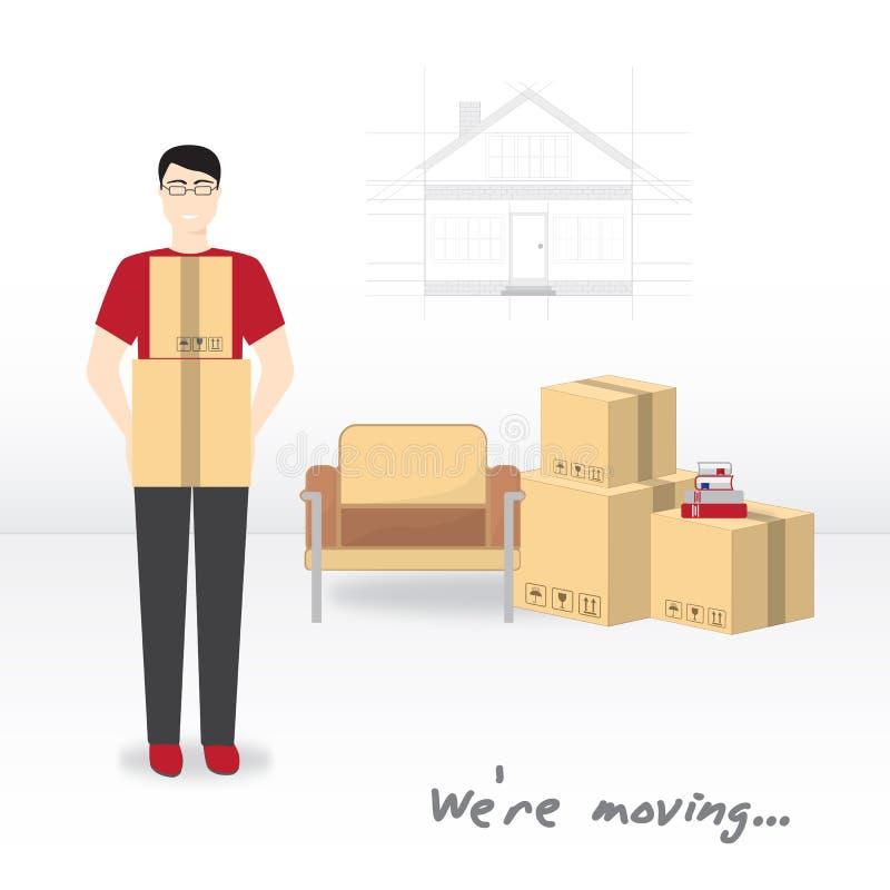 运输和家庭撤除 我们关于移动的` 有玻璃和一件红色T恤杉的年轻人拿着箱子 箱子,扶手椅子, b 向量例证