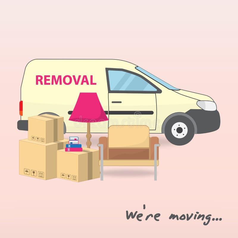 运输和家庭撤除 我们关于移动的` 运输和家庭撤除的黄色汽车 箱子,扶手椅子,落地灯, 库存例证