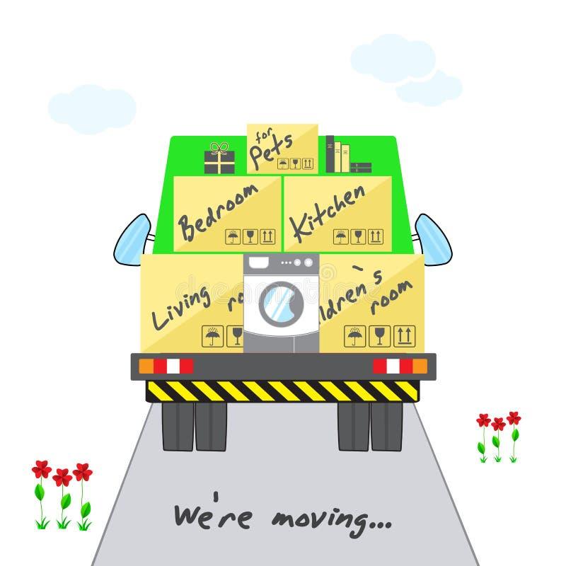 运输和家庭撤除 有箱子的风格化房子继续前进的卡车 有货物的绿色卡车在路 我们关于运动的` 皇族释放例证
