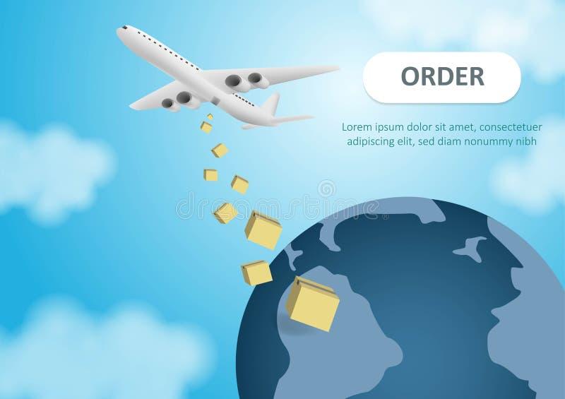运输和由航班的全球性交付 有产品的纸板箱 飞机飞行 图象以传染媒介格式 向量例证