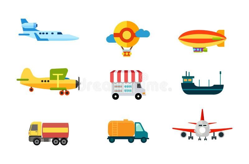 运输图标 空运、河和海运 地面交通 货物、飞艇和气球机器 传染媒介Illust 向量例证