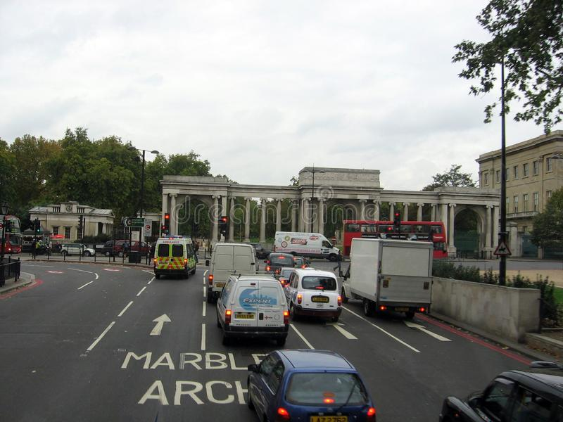 运输在大理石曲拱地区伦敦英国欧洲 免版税库存图片