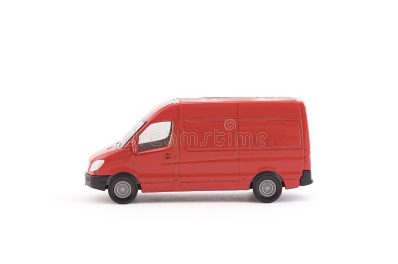 运输在白色背景的红色van car 免版税图库摄影