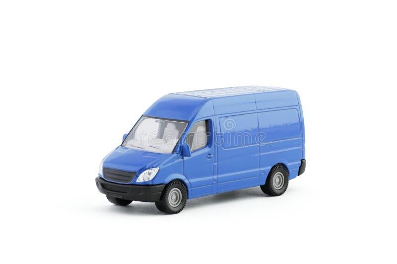 运输在白色背景的蓝色van car 库存照片